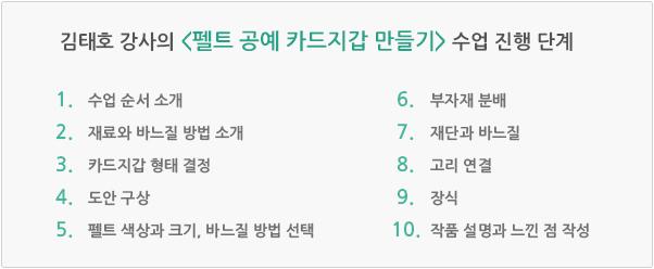김태호 강사의 펠트 공예 카드지갑 만들기 수업 진행 단계